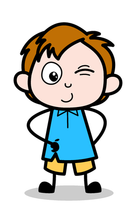 Smiling and Winking Eye - School Boy Cartoon Character Vector Illustration