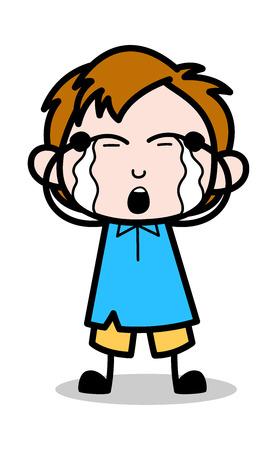 Crying - School Boy Cartoon Character Vector Illustration Illustration