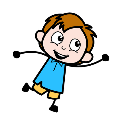 Playing Kid - School Boy Cartoon Character Vector Illustration