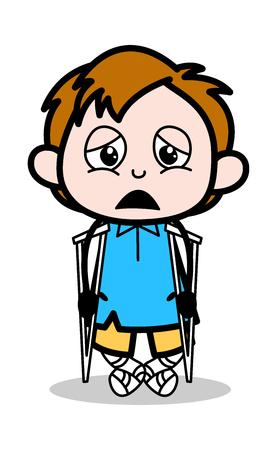 Disabled Patient - School Boy Cartoon Character Vector Illustration Vetores