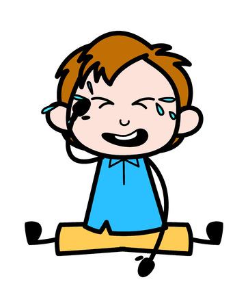 Baby Cry - School Boy Cartoon Character Vector Illustration