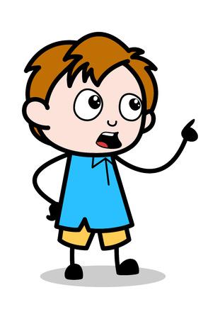 Reminding - School Boy Cartoon Character Vector Illustration