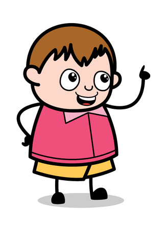 Reminding While Talking - Teenager Cartoon Fat Boy Vector Illustration Çizim
