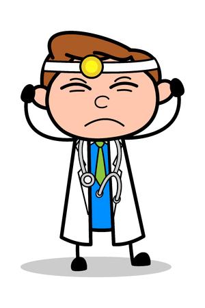 Irritated - Professional Cartoon Doctor Vector Illustration