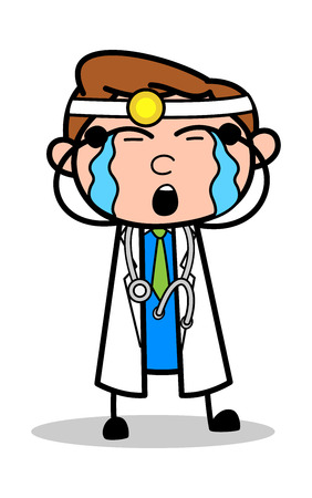 Crying - Professional Cartoon Doctor Vector Illustration Illustration