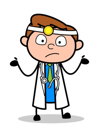 Ignorant - Professional Cartoon Doctor Vector Illustration Stock Vector - 121989565