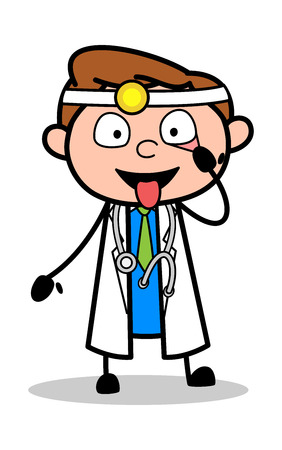 Showing Tongue and Eyes - Professional Cartoon Doctor Vector Illustration Banque d'images - 121989570