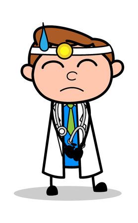 Feeling Guilty - Professional Cartoon Doctor Vector Illustration Illustration