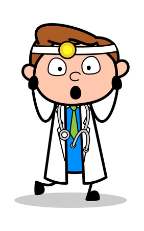 Scared - Professional Cartoon Doctor Vector Illustration 向量圖像