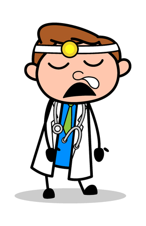 Funny Sleeping Style - Professional Cartoon Doctor Vector Illustration