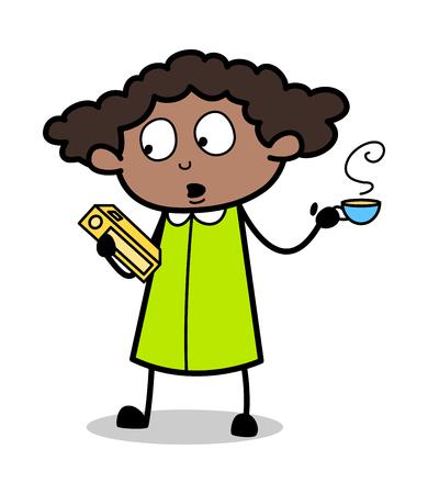 Study with Refreshment - Retro Black Office Girl Cartoon Vector Illustration Ilustração
