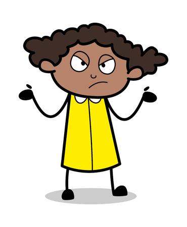 Ignorant - Retro Black Office Girl Cartoon Vector Illustration