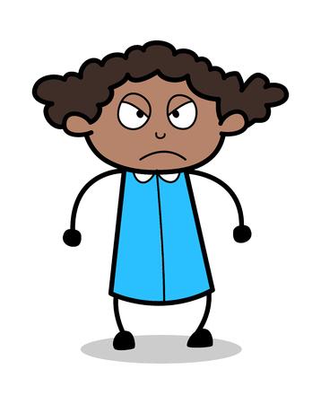 Aggressive Face Expression - Retro Black Office Girl Cartoon Vector Illustration
