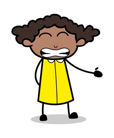 Irritating Face - Retro Black Office Girl Cartoon Vector Illustration