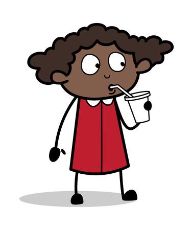 Refreshment - Retro Black Office Girl Cartoon Vector Illustration Illustration