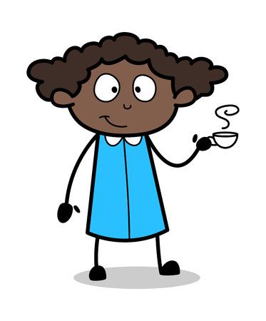 Hot Tea - Retro Black Office Girl Cartoon Vector Illustration