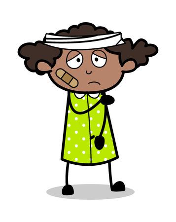 Injured Patient - Retro Black Office Girl Cartoon Vector Illustration Ilustração