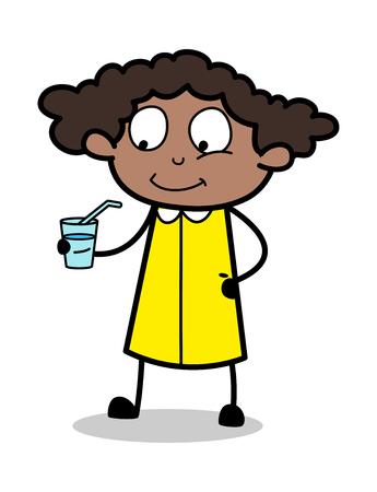 Energy Drink - Retro Black Office Girl Cartoon Vector Illustration