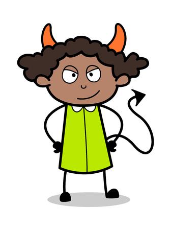 Devil - Retro Black Office Girl Cartoon Vector Illustration