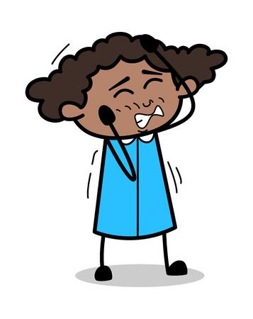 Irritated - Retro Black Office Girl Cartoon Vector Illustration