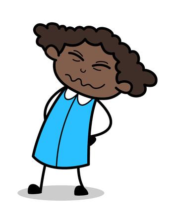 Backache - Retro Black Office Girl Cartoon Vector Illustration