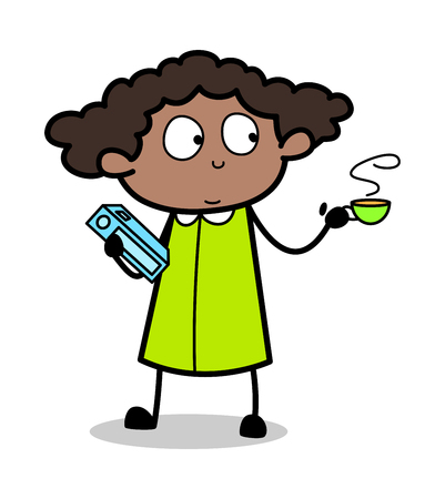Holding a Book and a Cup of Tea - Retro Black Office Girl Cartoon Vector Illustration