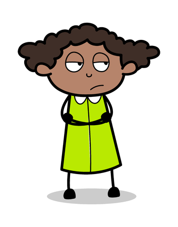 Disappointed Face - Retro Black Office Girl Cartoon Vector Illustration