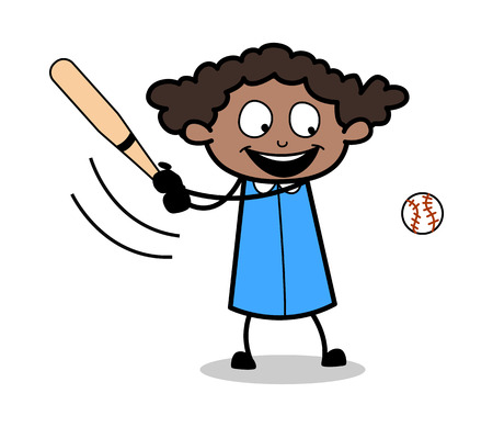 Playing Baseball - Retro Black Office Girl Cartoon Vector Illustration