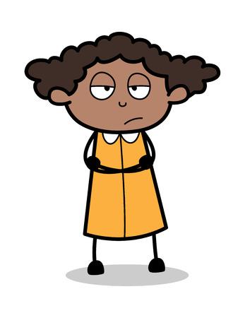 Unhappy - Retro Black Office Girl Cartoon Vector Illustration