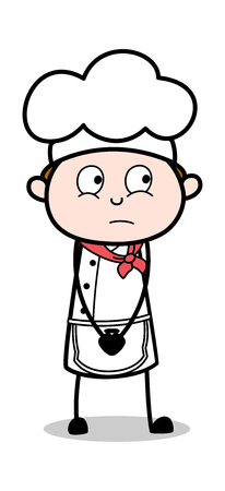 Very Innocent - Cartoon Waiter Male Chef Vector Illustration Illusztráció
