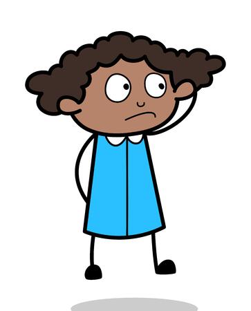 Confusion - Retro Black Office Girl Cartoon Vector Illustration