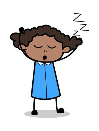 Yawning - Retro Black Office Girl Cartoon Vector Illustration