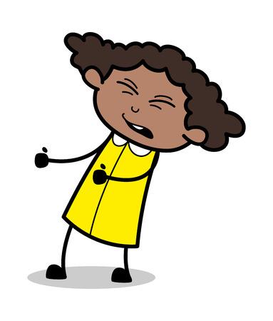 Feeling pain in Body - Retro Black Office Girl Cartoon Vector Illustration