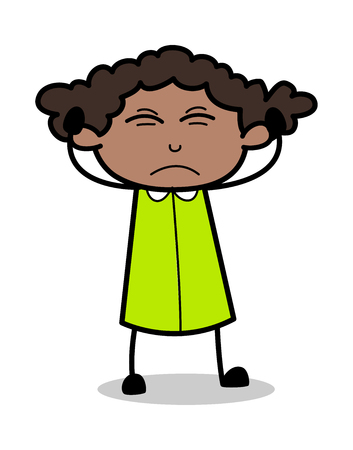 Irritated - Retro Black Office Girl Cartoon Vector Illustration