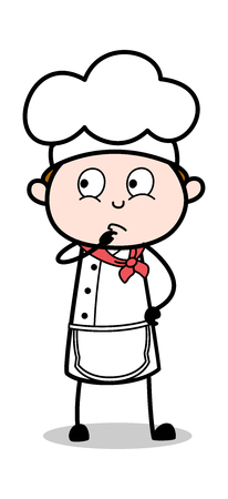 Planning - Cartoon Waiter Male Chef Vector Illustration