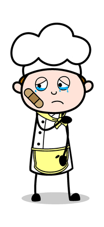 Bandage on face - Cartoon Waiter Male Chef Vector Illustration