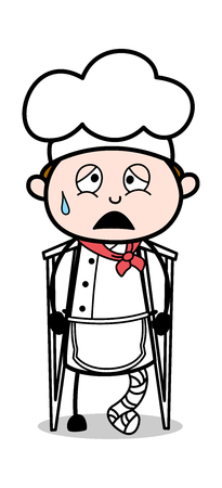 Fractured Leg Cook - Cartoon Waiter Male Chef Vector Illustration