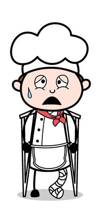 Fractured Leg Cook - Cartoon Waiter Male Chef Vector Illustration