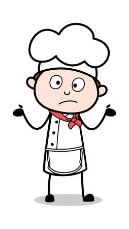 Unaware Expression - Cartoon Waiter Male Chef Vector Illustration