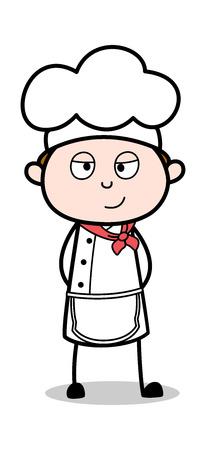 Slightly Smiling - Cartoon Waiter Male Chef Vector Illustration