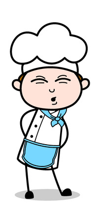 Body Pain - Cartoon Waiter Male Chef Vector Illustration