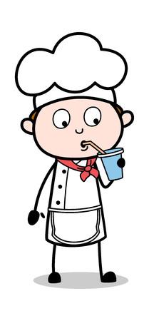 Drinking Energy Water - Cartoon Waiter Male Chef Vector Illustration