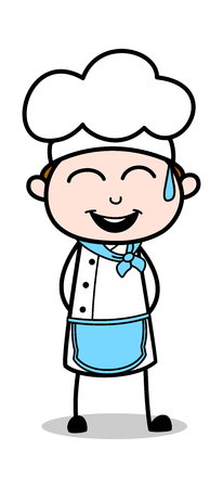 Laughing - Cartoon Waiter Male Chef Vector Illustration