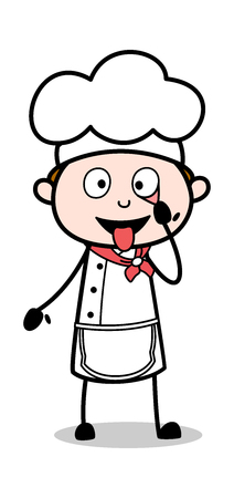 Showing Eye and Tongue - Cartoon Waiter Male Chef Vector Illustration