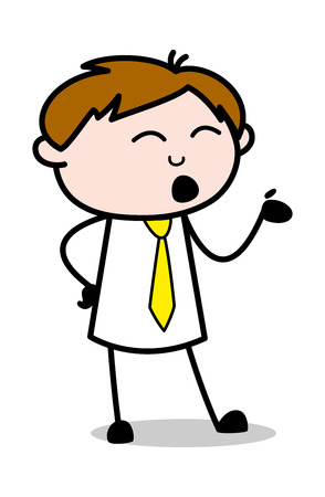 Hand Gesture While Communicating - Office Salesman Employee Cartoon Vector Illustration