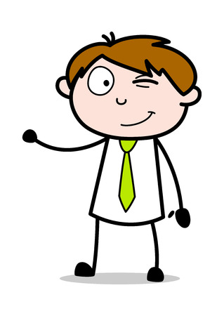 Winking and Presenting - Office Salesman Employee Cartoon Vector Illustration Çizim
