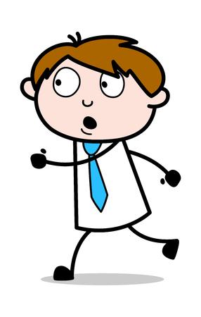 Scare Away - Office Salesman Employee Cartoon Vector Illustration