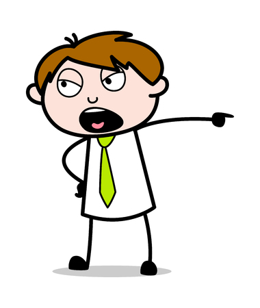 Shouting - Office Salesman Employee Cartoon Vector Illustration Vectores