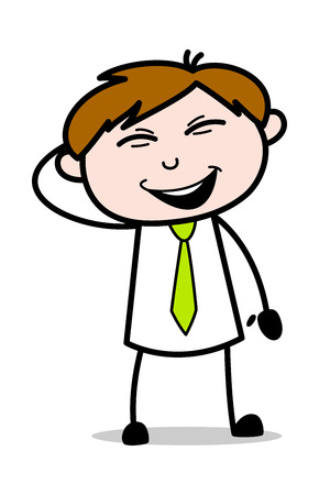 Naughty Smiling - Office Salesman Employee Cartoon Vector Illustration