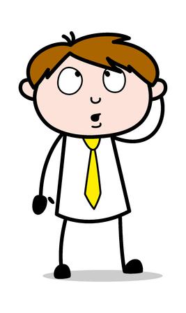 Thought - Office Salesman Employee Cartoon Vector Illustration